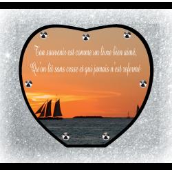 Plaque Funéraire Coeur 29cm Ø